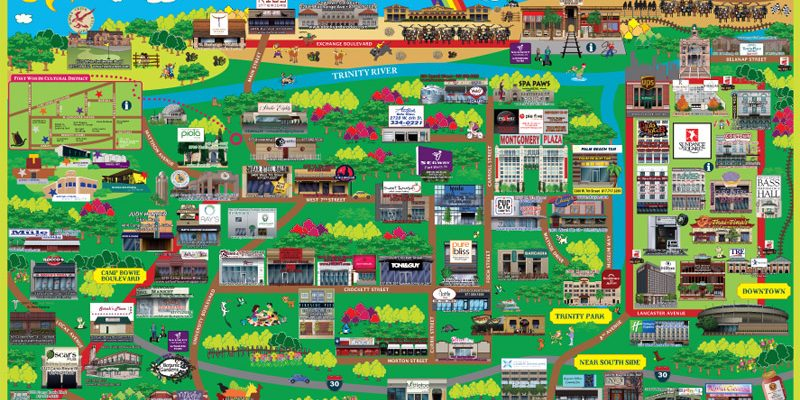 2012 Fort Worth Souvenir Cartoon Map